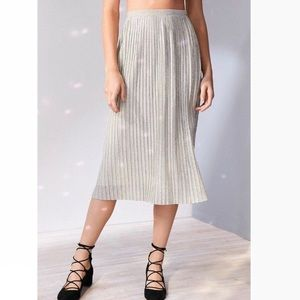 UO Kimchi Blue Alexis Shimmer Pleated Midi Skirt